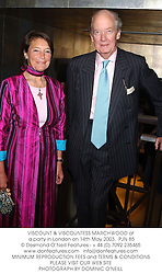 VISCOUNT & VISCOUNTESS MARCHWOOD at a party in London on 14th May 2003.		PJN 85