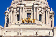 Golden chariot on the Minnesota state capitol dome, St. Paul, Minnesota.