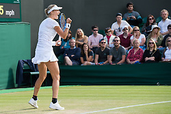 LONDON, ENGLAND - Saturday, July 2, 2016:  Ekaterina Makarova (RUS) after winning the Ladies' Single 3rd Round match on day six of the Wimbledon Lawn Tennis Championships at the All England Lawn Tennis and Croquet Club. (Pic by Kirsten Holst/Propaganda)