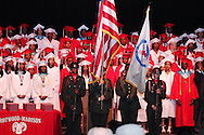 The Trotwood-Madison Army ROTC posts the colors during the Trotwood-Madison High School commencement at the Victoria Theatre in downtown Dayton, May 29, 2012.