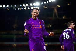 LONDON, ENGLAND - Saturday, November 3, 2018: Liverpool's Trent Alexander-Arnold celebrates the first goal, scored by team-mate captain James Milner, during the FA Premier League match between Arsenal FC and Liverpool FC at Emirates Stadium. The game ended in a 1-1 draw. (Pic by David Rawcliffe/Propaganda)