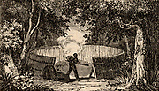 Charcoal burner at work in Kent, England. The charcoal burners would spend the summer in the woods cutting timber and producing charcoal, living with their families in caravans or, more usually, in rough cabins constructed of wood and turf.   Woodcut from 'The Saturday Magazine' (London, 9 January 1836).