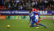 Ipswich midfielder Ainsley Maitland-Niles getting fouled during the Sky Bet Championship match between Charlton Athletic and Ipswich Town at The Valley, London, England on 28 November 2015. Photo by Matthew Redman.