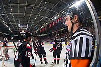 KELOWNA, CANADA - JANUARY 4: Referee Steve Papp stands behind the net at the Kelowna Rockets against the Prince George Cougars for his 600th game on January 4, 2019 at Prospera Place in Kelowna, British Columbia, Canada.  (Photo by Marissa Baecker/Shoot the Breeze)
