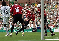 Photo: Paul Thomas.<br /> Glasgow Celtic v Manchester United. Pre Season Friendly. 26/07/2006.<br /> <br /> Jonathan Evans of Manchester scores the first goal of the night.