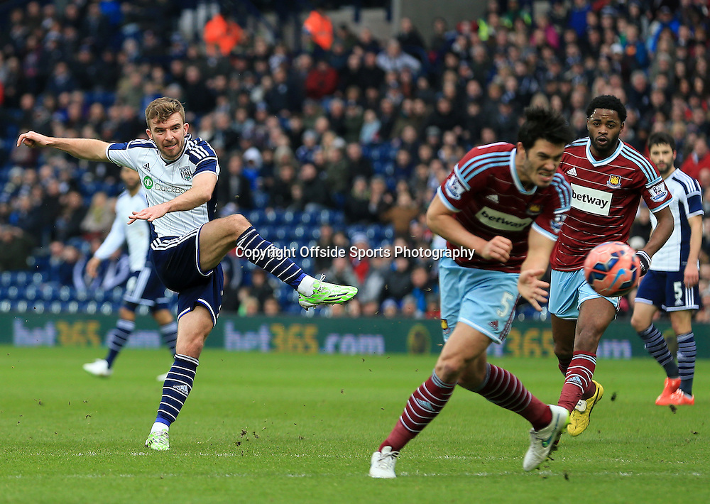14th February 2015 - FA Cup 5th Round - West Bromwich Albion v West Ham United - James Morrison of West Bromwich Albion unleashes an unstoppable shot to claim a second goal for his side (2-0) - Photo: Paul Roberts / Offside.