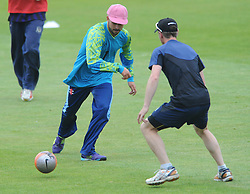 Chris Dent of Gloucestershire plays football before the T20 game against Glamorgan - Photo mandatory by-line: Dougie Allward/JMP - Mobile: 07966 386802 - 12/06/2015 - SPORT - Cricket - Bristol - County Ground - Gloucestershire v Glamorgan - Natwest T20 Blast