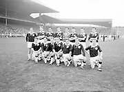 Galway player before the All Ireland Senior Gaelic Football Championship Final Dublin V Galway at Croke Park on the 22nd September 1963. Dublin 1-9 Galway 0-10.<br /> <br /> Back Row Left to right S Leyden, M McDonagh, N Tierney, M MacReynolds, M Moore, M Newell, E Colleran and S Meade.<br /> <br /> Front Row Left to Right C Dunne, J Keenan,  B Geraghty, M Garrett Captain, S B McDermott, P Donnellan, S Donnellan.