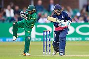 England womens cricket player Heather Knight (capt) pushes the ball into the off side during the ICC Women's World Cup match between England and Pakistan at the Fischer County Ground, Grace Road, Leicester, United Kingdom on 27 June 2017. Photo by Simon Davies.