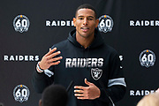 Darren Waller (TE) of the Oakland Raiders talks to the press during the practice session for Oakland Raiders at the Grove Hotel, Chandlers Cross, United Kingdom on 4 October 2019.