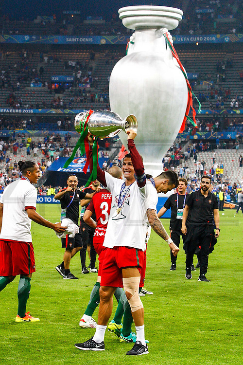 Cristiano Ronaldo, captain of the portuguese national squad and other portuguese players celebrating the winning of Euro Football Championship after Portugal beat France on extra-time by 1-0, in Saint Denis stadium in Paris.