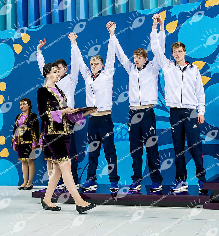 SCOTT Duncan WALTON Martyn CHISHOLM Kyle KURLE Cameron GBR<br /> 4X200  Relay Freestyle Men Final Swimming Silver Medal<br /> 1st European Olympic Games <br /> Baku Azerbaijan 12-28/08/2015<br /> Photo Andrea Masini/Deepbluemedia/Insidefoto