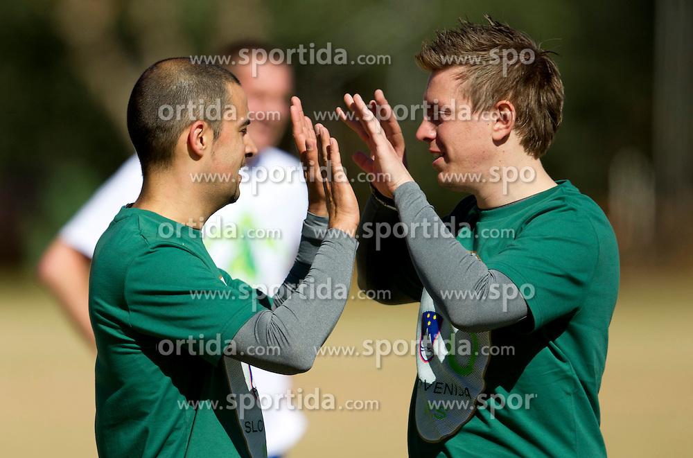 Uros Stanic and Matjaz Krajnik of NZS during the friendly match between Slovenian football journalists and officials of Slovenian football federation at  Hyde Park High School Stadium on June 16, 2010 in Johannesburg, South Africa.  (Photo by Vid Ponikvar / Sportida)