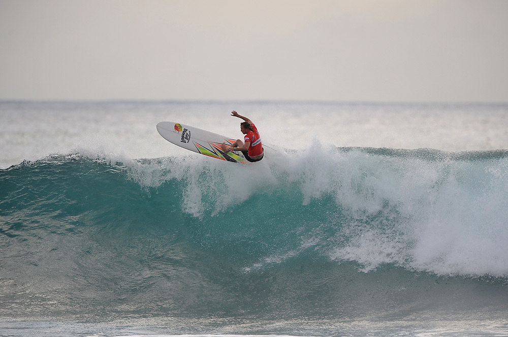 November 3rd 2010: Bryce Young floats a section during round 2 of the ASP World Longboard Championship at Makaha Oahu-Hawaii. Photo by Matt Roberts/mattrIMAGES.com.au
