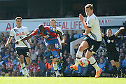 Yannick Bolasie has a shot during the Barclays Premier League match between Tottenham Hotspur and Crystal Palace at White Hart Lane, London, England on 20 September 2015. Photo by Alan Franklin.