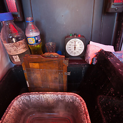 mobile wetplate lab, for making wetplate collodion images. Inca Cola can be seen inside the main box, which is used for slowing down the development process