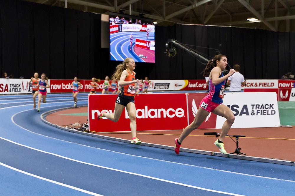 New Balance Indoor Grand Prix track meet: Junior GIrls Mile, Wesley Frazier leads Bethanie Brown