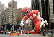 The Red Mighty Morphin Power Ranger, measuring 77 feet long, 26 feet wide and 56 feet tall, is ready to save the world from evil this Thanksgiving at the 2014 Macy's Thanksgiving Day Parade, Thursday, Nov. 27, 2014, in New York. (Photo by Diane Bondareff/Invision for Power Rangers/AP Images)