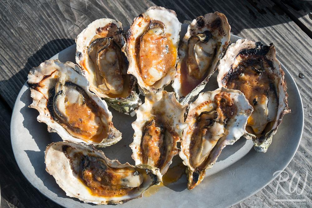 BBQ Oysters from Hog Island Oyster Farm, Marshall, California
