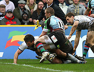 London - Saturday April 3rd, 2010: Alex Walker of Newcastle goes over the line to score Newcastle's first try during the Guinness Premiership match between Harlequins and Newcastle at the Twickenham Stoop, London. (Pic by Andrew Tobin/Focus Images)