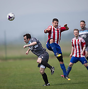 Riverside CSC (grey) v AC Harleys (red and white)  in the Dundee Saturday Morning Football League at University Grounds, Riverside, Dundee, Photo by David Young<br /> <br /> <br />  - &copy; David Young - www.davidyoungphoto.co.uk - email: davidyoungphoto@gmail.com