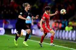 Tin Jedvaj of Croatia marks Daniel James of Wales - Mandatory by-line: Ryan Hiscott/JMP - 13/10/2019 - FOOTBALL - Cardiff City Stadium - Cardiff, Wales - Wales v Croatia - UEFA European Qualifiers