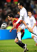 Xavi and Landon Donovan  during the Semi Final soccer match of the 2009 Confederations Cup between Spain and the USA played at the Freestate Stadium,Bloemfontein,South Africa on 24 June 2009.  Photo: Gerhard Steenkamp/Superimage Media.