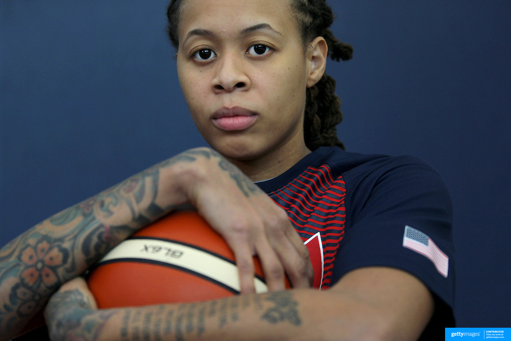 Player Portraits: Seimone Augustus <br /> <br /> The 2016 USA Basketball Women's National Team Training Camp at the  University of Connecticut&rsquo;s Werth Family UConn Basketball Champions Center, Storrs, Connecticut. 21st February 2016. Photo Tim Clayton