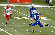 26 Nov. 2011 -- ST. LOUIS -- Valle Catholic High School running back Tyler Fallert (17) sprints for the end zone to score a touchdown against South Shelby High School in the MSHSAA Class 1 state football championship game at the Edward Jones Dome in St. Louis Saturday, Nov. 26, 2011. Photo © copyright 2011 Sid Hastings.