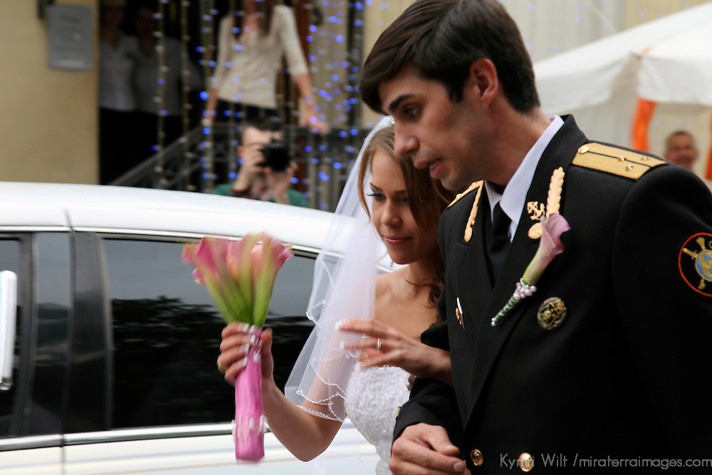 Europe, Russia, Moscow. Russian Bride and Groom arrive at Wedding Reception.