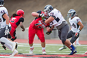 Community College of San Francisco outside lineman David Galten (72) protects the quarterback against College of Siskiyous at Community College of San Francisco in San Francisco, Calif., on September 10, 2016. (Stan Olszewski/Special to S.F. Examiner)