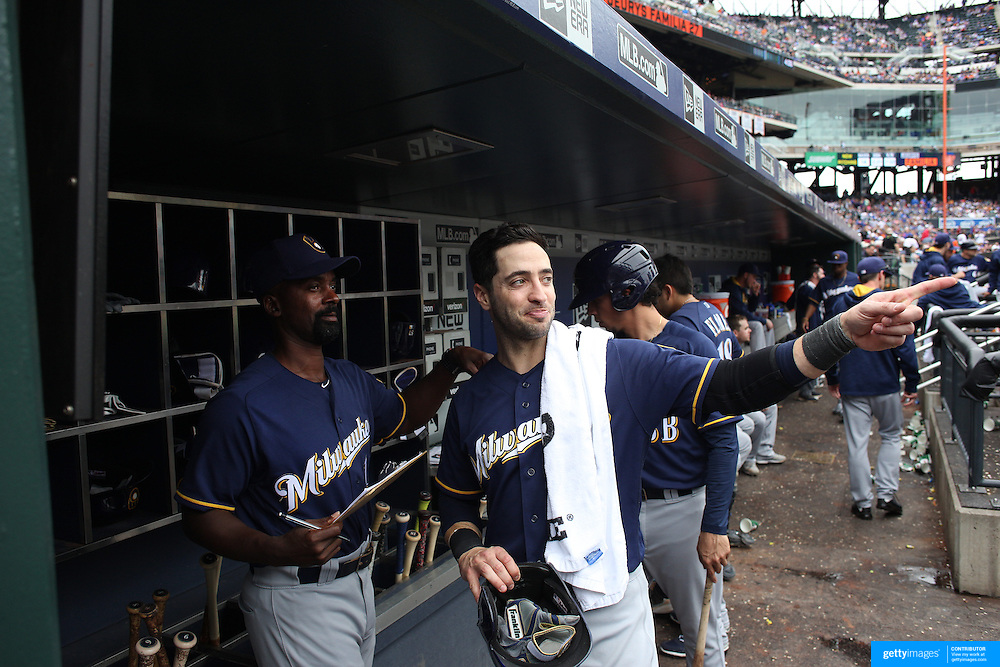 NEW YORK, NEW YORK - May 22:  Ryan Braun #8 of the Milwaukee Brewers in the dugout during the Milwaukee Brewers Vs New York Mets regular season MLB game at Citi Field on May 22 2016 in New York City. (Photo by Tim Clayton/Corbis via Getty Images)