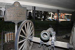 """Cannon artillery in front of a historical marker that reads Chatham Artillery's """"Washington Guns"""", Savannah, Georgia, United States of America."""