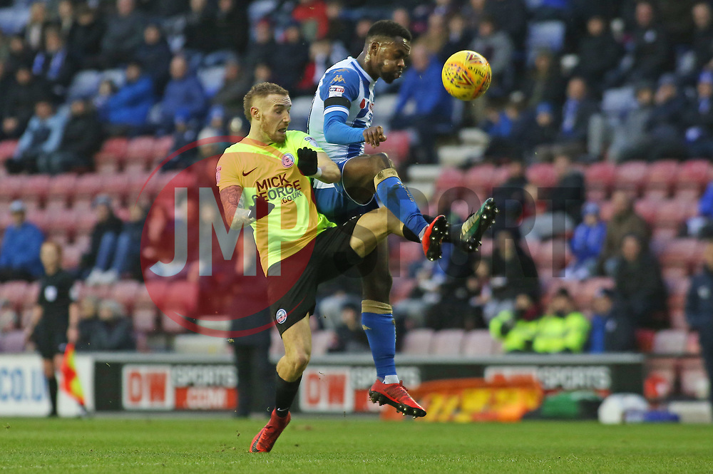 Marcus Maddison of Peterborough United in action with Gavin Massey of Wigan Athletic - Mandatory by-line: Joe Dent/JMP - 13/01/2018 - FOOTBALL - DW Stadium - Wigan, England - Wigan Athletic v Peterborough United - Sky Bet League One