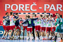 Norway team celebrate during handball match between National teams of Norway and Norway on Day 3 in Preliminary Round of Men's EHF EURO 2018, on January 14, 2018 in Arena Zatika, Porec, Croatia. Photo by Ziga Zupan / Sportida
