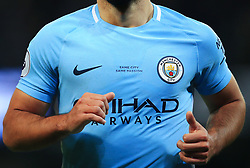 """Same City Same Passion"" is printed on the home jersey of Sergio Aguero of Manchester City following the merge in branding of the club's Mens and Womens first teams - Mandatory by-line: Matt McNulty/JMP - 10/02/2018 - FOOTBALL - Etihad Stadium - Manchester, England - Manchester City v Leicester City - Premier League"