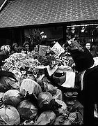 Moore Street, Dublin.      (J97)..1975..23.12.1975..12.23.1975..23rd December 1975..For well over a hundred years Moore Street has served the citizens of Dublin. The longest running open air fruit and vegatable market offers value for money,particularly to those where money is in short supply. Predominately a fruit and veg market there are several traders who sell fish and seasonal goods, as illustrated by the photographs showing turkeys and holly wreaths being sold on the run up to Christmas..Picture shows this stall holder with a large queue forming. Many of the staples of the Irish diet are shown here including cabbage,carrots and parsley for the turkey stuffing.