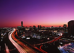 Aerial view of the Galleria area in Houston, Texas with a beautiful sunset.