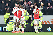arsenal celebrate going 4-0 up  during the The FA Cup fifth round match between Hull City and Arsenal at the KC Stadium, Kingston upon Hull, England on 8 March 2016. Photo by Ian Lyall.
