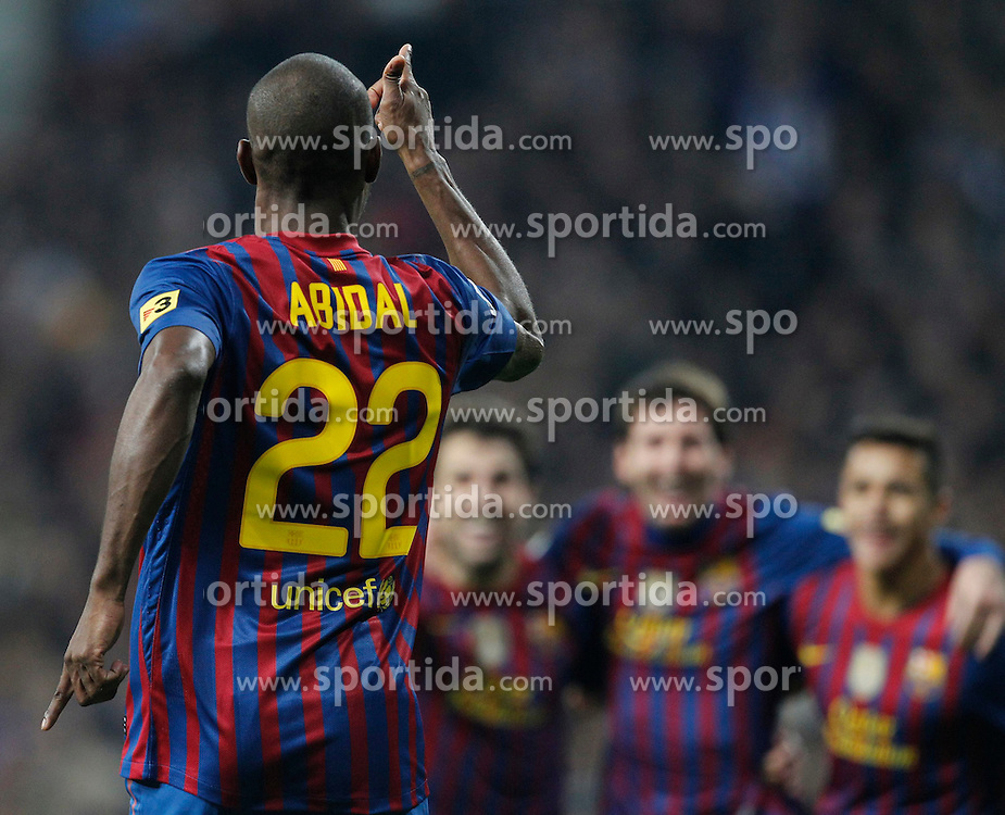 18.01.2012, Santiago Bernabeu Stadion, Madrid, ESP, Copa del Rey, Real Madrid vs FC Barcelona, im Bild FC Barcelona's Eric Abidal goal // during spanish King's Cup on January 18th 2012. EXPA Pictures © 2012, PhotoCredit: EXPA/ Alterphotos/ Cesar Cebolla..***** ATTENTION - OUT OF ESP and SUI *****