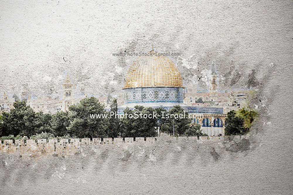 Digitally enhanced image of the The Dome of the Rock at Haram esh Sharif the Noble Sanctuary in the Old City of Jerusalem, Israel as seen from the Zeevi observation point on mount Olives