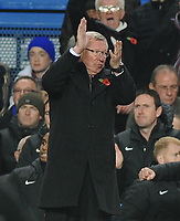 Football : Chelsea v Manchester United 28/10/2012 <br /> Alex Ferguson - United manager hands out instructions