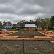 End of second construction day, and the four walls of the Pavillion are built and ready to be hoisted into place.