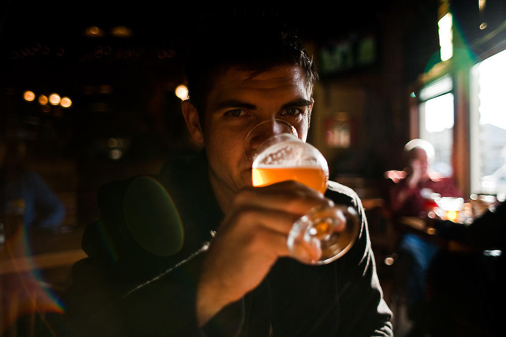 Benjamin Weyland enjoys 'Pranqster', an award-winning belgian style ale at North Coast Brewing Company in Fort Brag, California.  December 30, 2008.