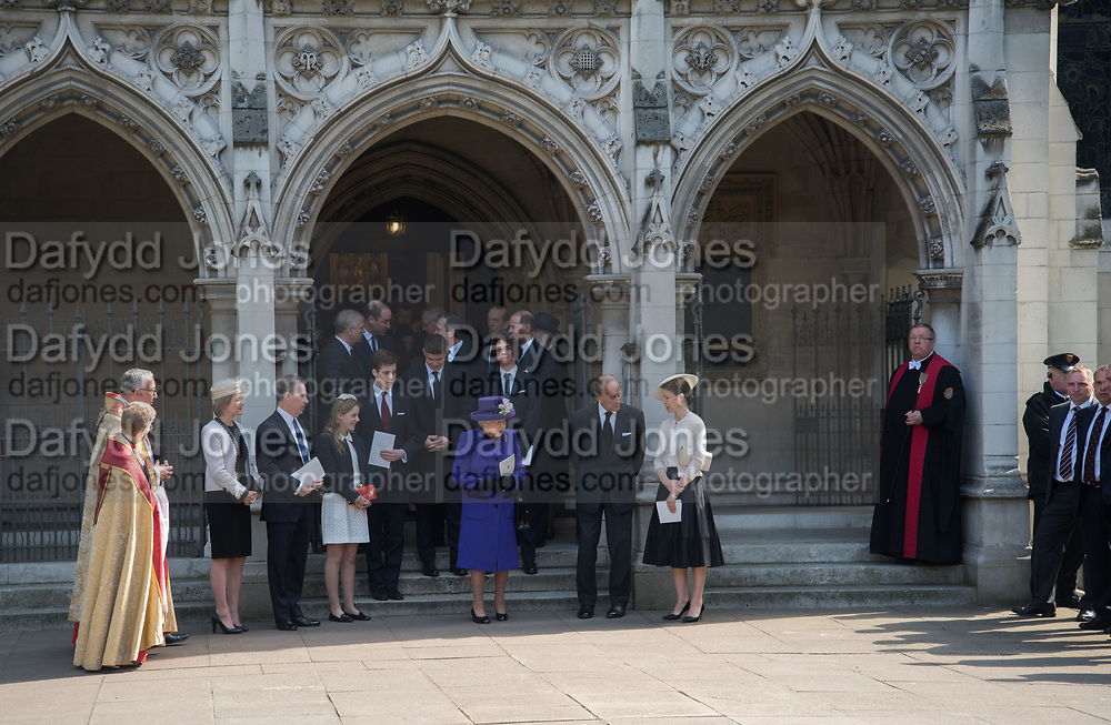 THE COUNTESS OF SNOWDON; THE EARL OF SNOWDON;  QUEEN ELIZABETH 11; PRINCE PHILIP ; LADY SARAH CHATTO, Service of thanksgiving for  Lord Snowdon, St. Margaret's Westminster. London. 7 April 2017