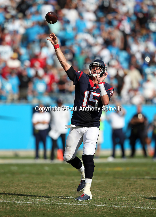 Houston Texans quarterback Ryan Mallett (15) throws a deep pass during the 2015 NFL week 2 regular season football game against the Carolina Panthers on Sunday, Sept. 20, 2015 in Charlotte, N.C. The Panthers won the game 24-17. (©Paul Anthony Spinelli)