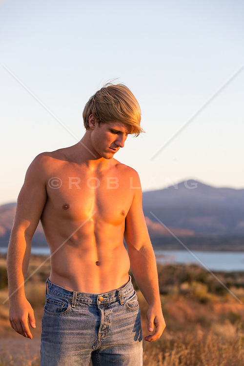 shirtless All American man without a shirt outdoors in New Mexico