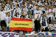 Real Madrid fans with spanish flag during the Champions League Final between Juventus and Real Madrid at the National Stadium of Wales, Cardiff, Wales on 3 June 2017. Photo by Phil Duncan.