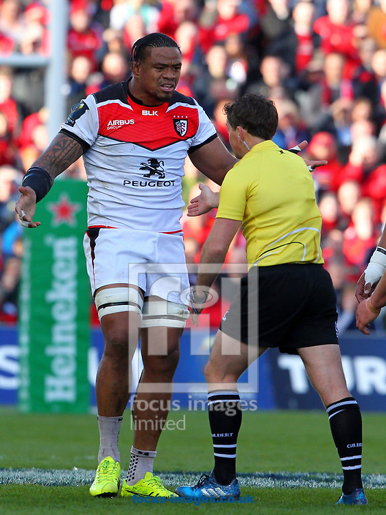 Joe Tekori of Stade Toulousain reacts to a referee decision during the European Rugby Champions Cup match at Thomond Park, Limerick<br /> Picture by Yannis Halas/Focus Images Ltd +353 8725 82019<br /> 01/04/2017