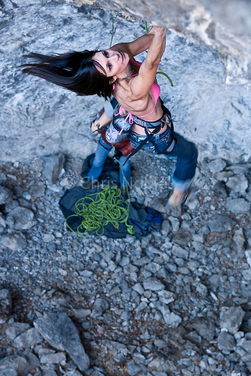 "Jacinda (JC) Hunter working her 5.14b project ""Fantasy Island"" at ""The Hideout"" in American Fork Canyon, Utah."